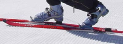 The Telemark Bulldog ski binding in the tele position